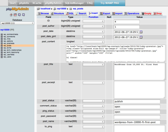 PHPmyAdmin showing database with post table