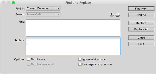 The Dreamweaver Find and Replace dialog box