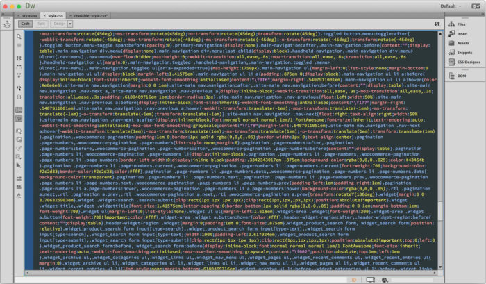 Dreamweaver showing minified CSS file